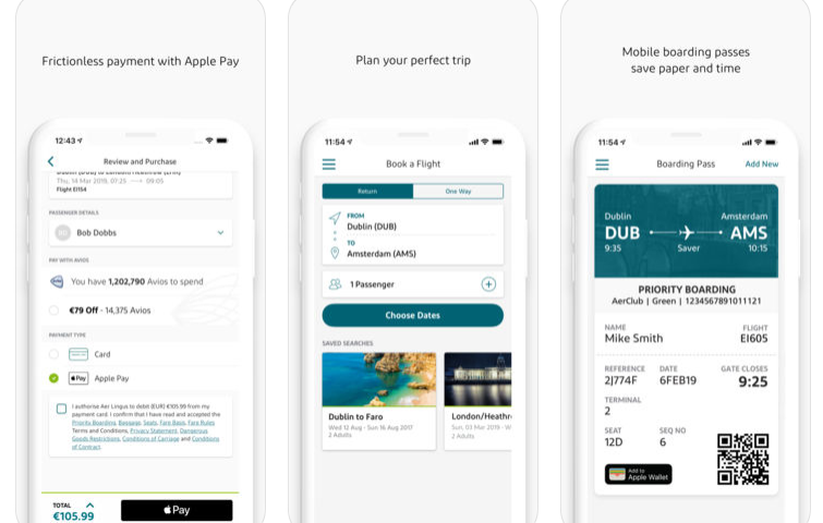 Aer Lingus Mobile App now works with Apple Pay
