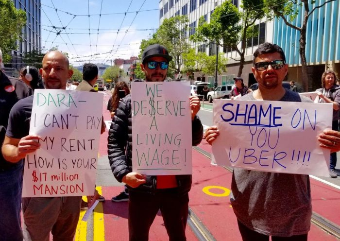 Uber drivers take to streets demanding fair pay ahead of IPO