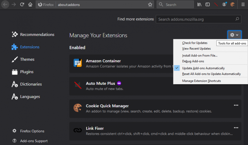 Firefox 74: sideloading extension support ends